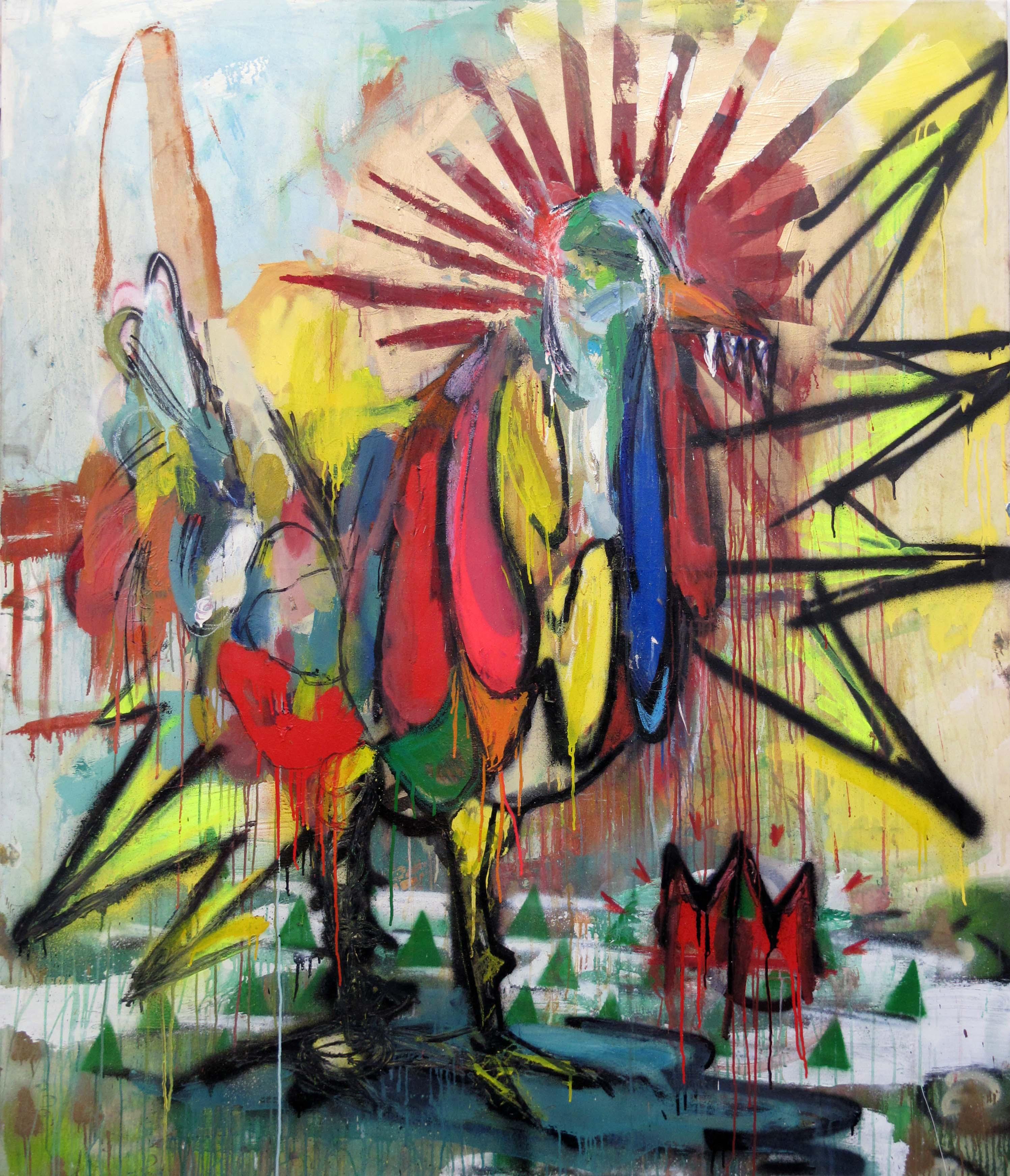 175x150x2cm oil, acrylic and spray on canvas