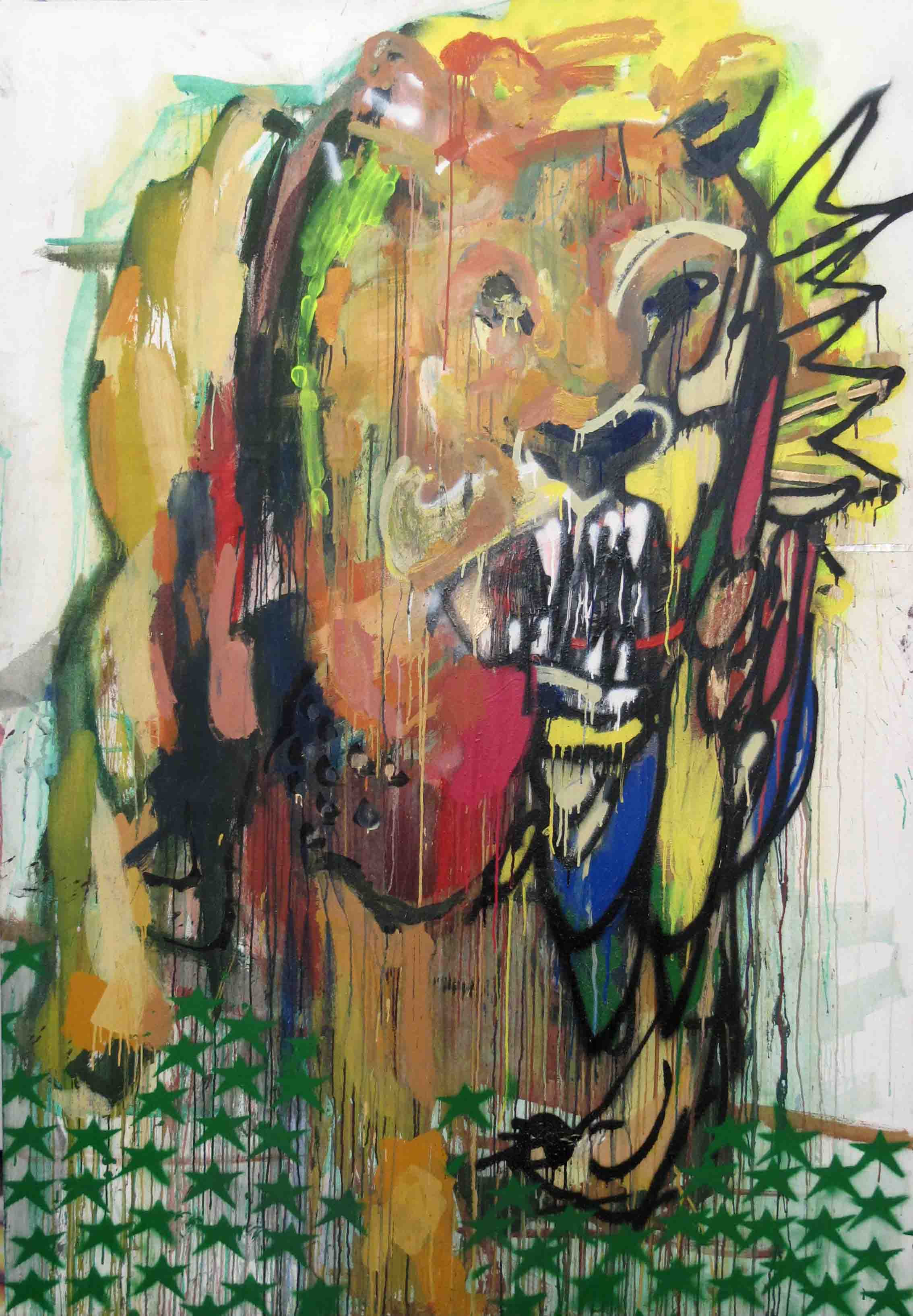 lion 200 x 140 x 2 cm water oils and spray on canvas